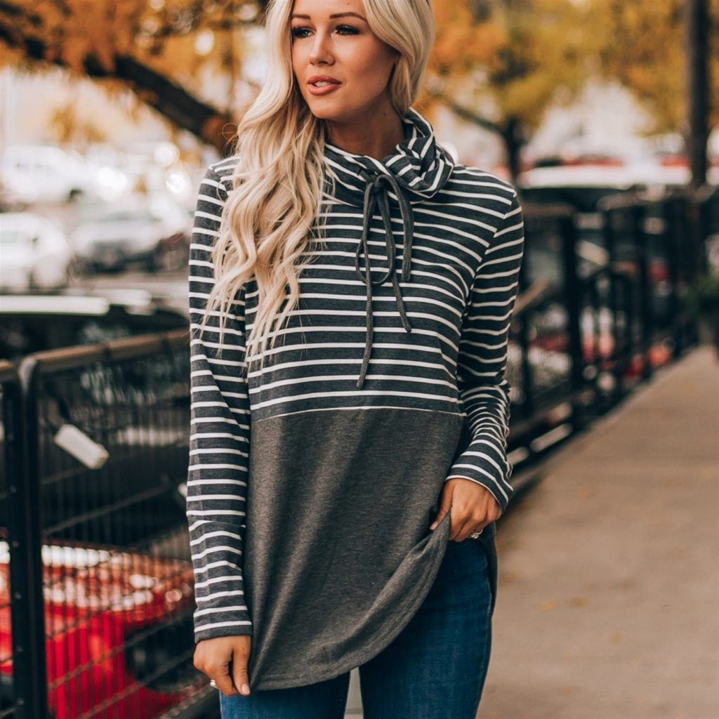 Colorblock Drawstring Sweatshirt