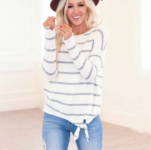 Brushed Stripe Soft Sweater