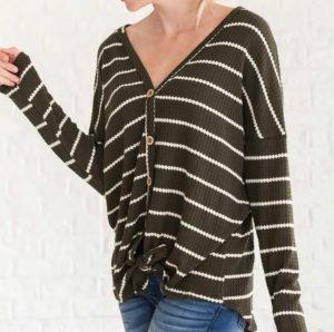 Cozy Stripe Tops 3 Colors