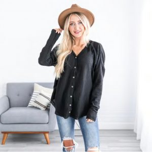 Luxe Waffle Button Down Tunic