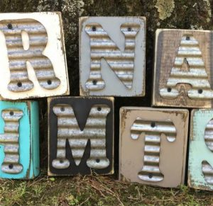 Tin Initial Wood Block Letter
