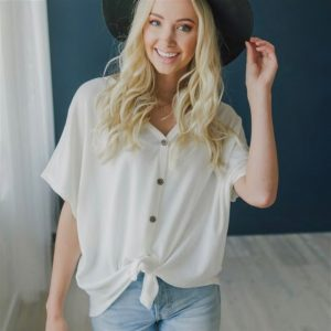 Relaxed Button Tie Top