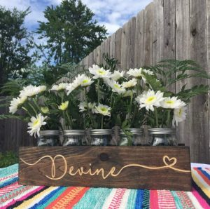 Engraved Mason Jar Centerpiece