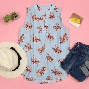 Print Notch Neck Sleeveless Blouse