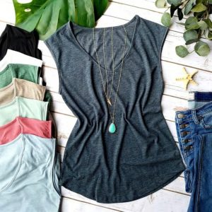 Comfy Sleeveless V-Neck Tee