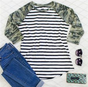 Camo Sleeve Striped Raglan