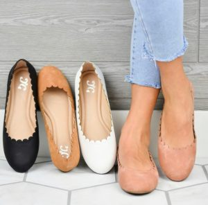 Comfort Sole Scalloped Flats