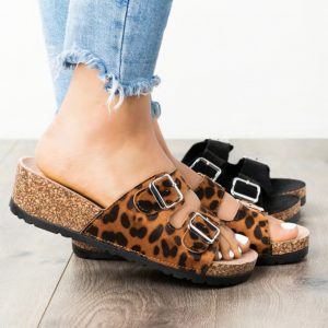 Double Buckle Wedge Sandals
