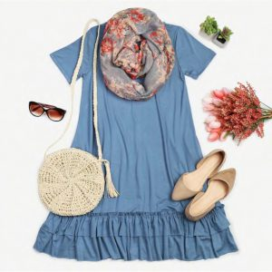 Ruffle Hem Pocket Dress