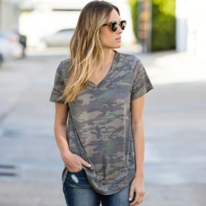 Camo Loose Cut Short Sleeve Top