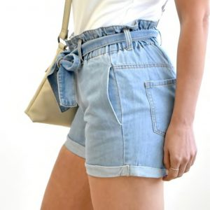 Paper Bag Waist Denim Shorts