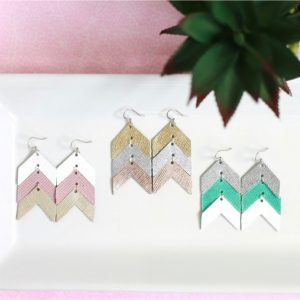 Chevron Leather Statement Earrings