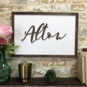 Oversized Family Name Framed Sign