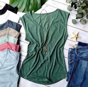 Comfy Sleeveless V-Neck T Shirts